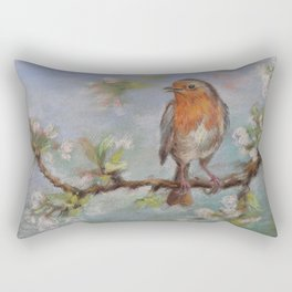 Red Robin Small bird on a blooming twig Wildlife spring scene Pastel drawing Rectangular Pillow