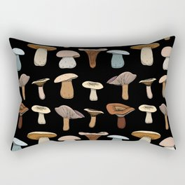colorful fungi on black Rectangular Pillow