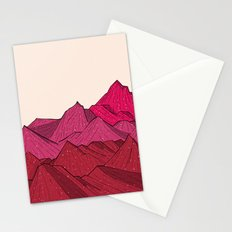 The falling snow and the mountains Stationery Cards