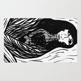 mujer de lluvia Rug