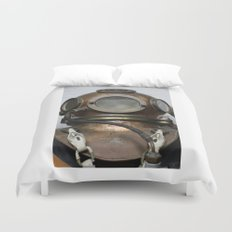 Antique vintage metal underwater diving helmet Duvet Cover