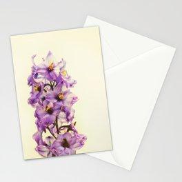 Purple Larkspur Delphinium Flowers Stationery Cards