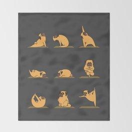Pug Yoga // Black Throw Blanket
