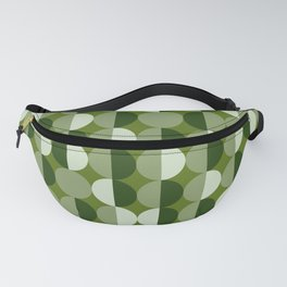 Retro circles grid green Fanny Pack