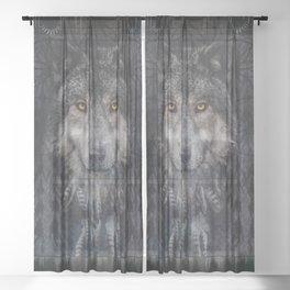 Winter mode - Wolf Dreamcatcher Sheer Curtain