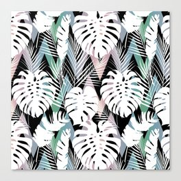Blush pink green white hand painted tropical leaves chevron Canvas Print
