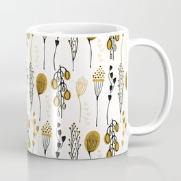 Leaf Seedpod Branch Vector Pattern, Drawn Seamless Background Coffee Mug