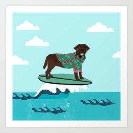 Chocolate Labrador surfing dog breed art Art Print