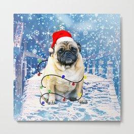 Pug Holidays Christmas Snow Metal Print
