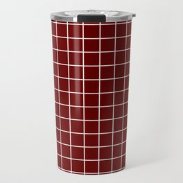 Blood red - purple color - White Lines Grid Pattern Travel Mug