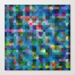 geometric square pixel pattern abstract in blue green pink yellow Canvas Print