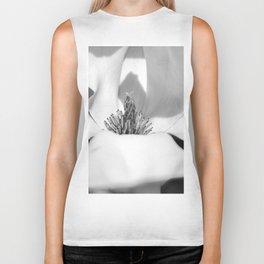 Magnolia flower Black and white Biker Tank
