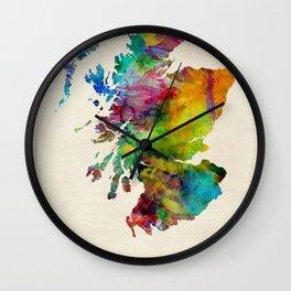 Scotland Watercolor Map Wall Clock