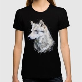 Watercolour grey wolf portrait T-shirt
