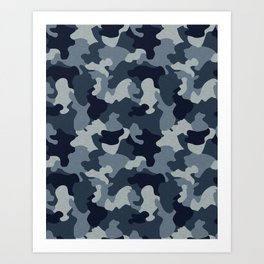 CUSTOM NAVY & BLUE CAMO 13 Art Print