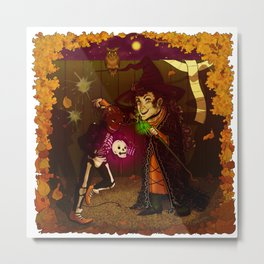 Witch and Wizard of Halloween Metal Print