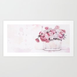 The tender touch of peonies Art Print