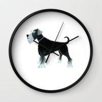 schnauzer Wall Clocks featuring Schnauzer by Cathy Brear