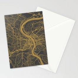Cincinnati map Stationery Cards