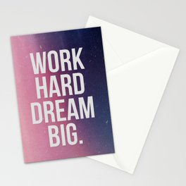 Work Hard Dream Big - Ombre - Inspirational Quote Stationery Cards