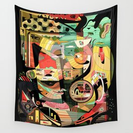Pigtails Banana Chaos Wall Tapestry