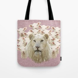 Lambs led by a lion Tote Bag