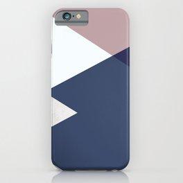 Geometrics - blush indigo rose gold iPhone Case