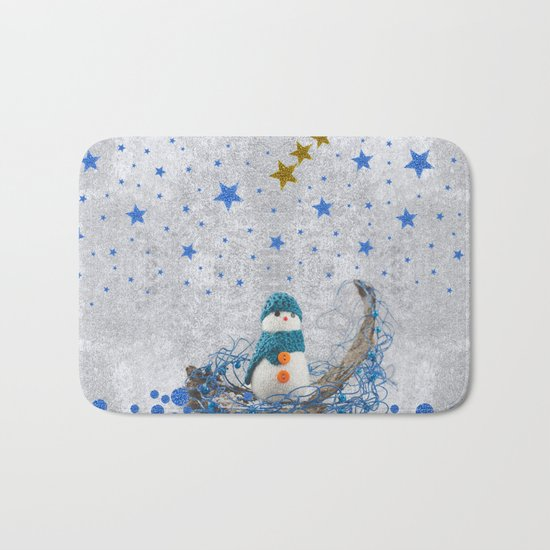 Snowman with sparkly blue stars Bath Mat