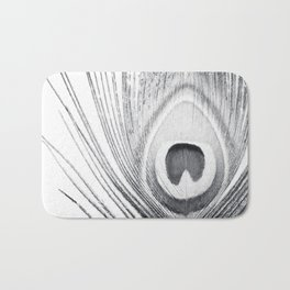 Black and White Peacock Feather Photography, Grey Nature, Neutral Gray Feathers Bath Mat
