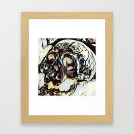 Metal Paper Skull Framed Art Print