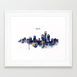 Detroit Skyline Silhouette Framed Art Print