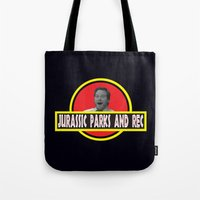 parks and rec Tote Bags featuring Jurassic Parks And Rec by anthonykun