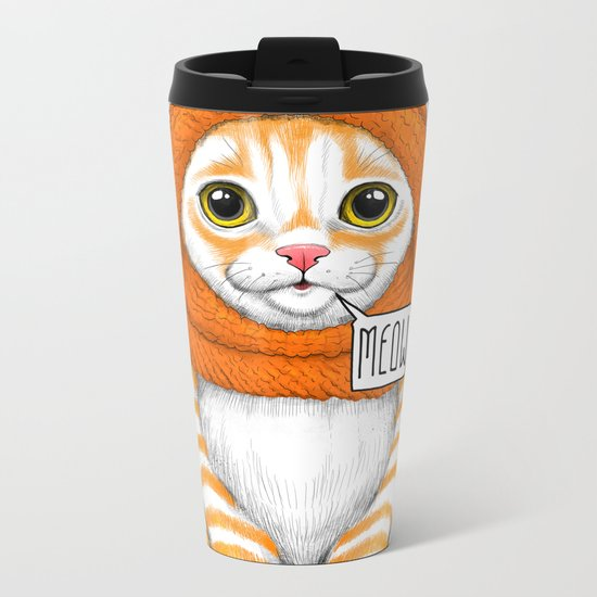 kitten in fox cap Metal Travel Mug