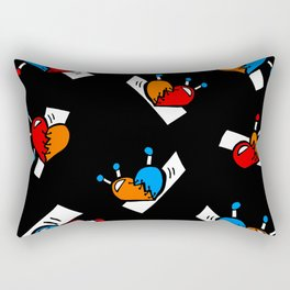 Hearts with Stitches - Blue Red Orange - Black Rectangular Pillow