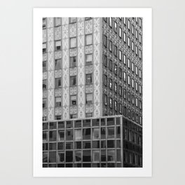 Geometric New York Architecture in Black and White Art Print
