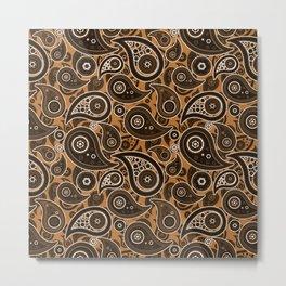 Copper Orange Paisley Pattern Metal Print