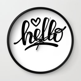 Hello brush lettering Wall Clock