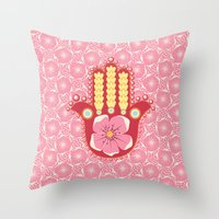 hamsa Throw Pillows featuring Hamsa by Moirarae