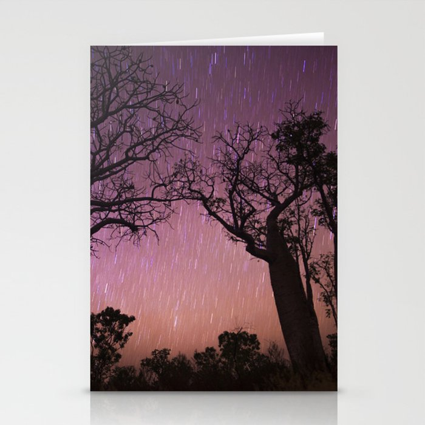 Raining Stars on Boabs Stationery Cards