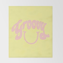 Groovy Smile // Fun Retro 70s Hippie Vibes Lemonade Yellow Grapefruit Pink Lettering Typography Art Throw Blanket