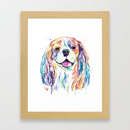 Cavalier King Charles Spaniel - Colorful Watercolor Painting Framed Art Print