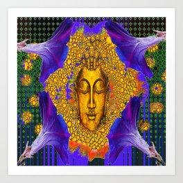 PURPLE MORNING GLORY GOLDEN BUDDHA FACE Art Print