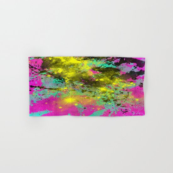 Stargazer - Abstract cyan, black, purple and yellow oil painting Hand & Bath Towel