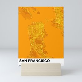 san francisco city map color Mini Art Print