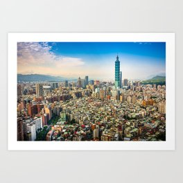 Aerial view and cityscape of Taipei, Taiwan Art Print