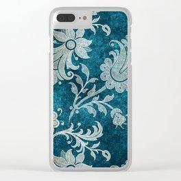 Aqua Teal Vintage Floral Damask Pattern Clear iPhone Case