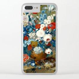 "Jan van Os  ""Flower still life with a bird's nest on a ledge"" Clear iPhone Case"