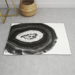 Gray Black White Agate with Rose Gold Glitter #7 #gem #decor #art #society6 Rug