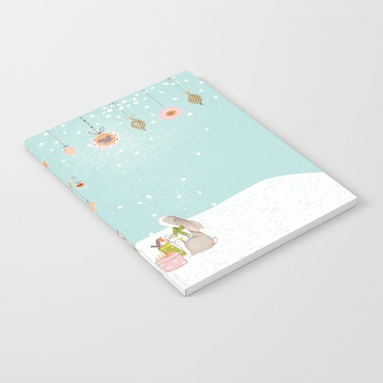 Merry christmas! Little deer decorated with christmasbowls and friends in winter Notebook