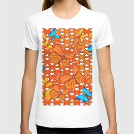 YELLOW BLUE ORANGE BUTTERFLY ABSTRACT WORLD T-shirt